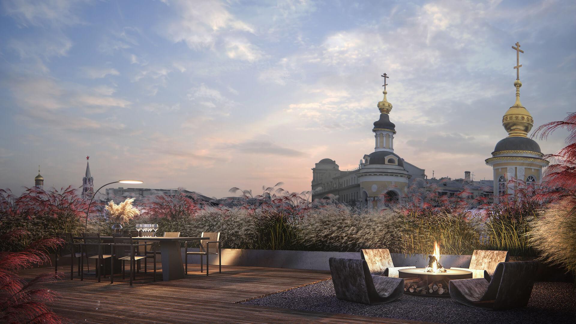 Вид на цент Москвы со стороны жк Дом с Атлантами