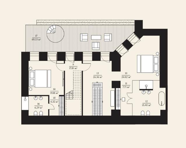 Планировка нижнего этажа таунхауса