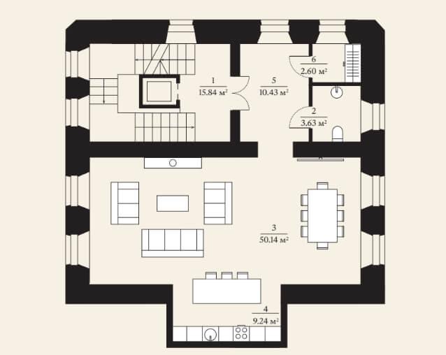 Планировка второго этажа городской виллы