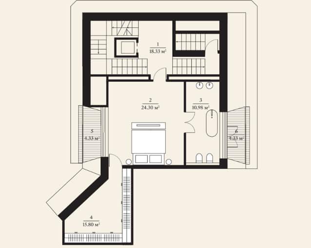 Планировка четвертого этажа городской виллы