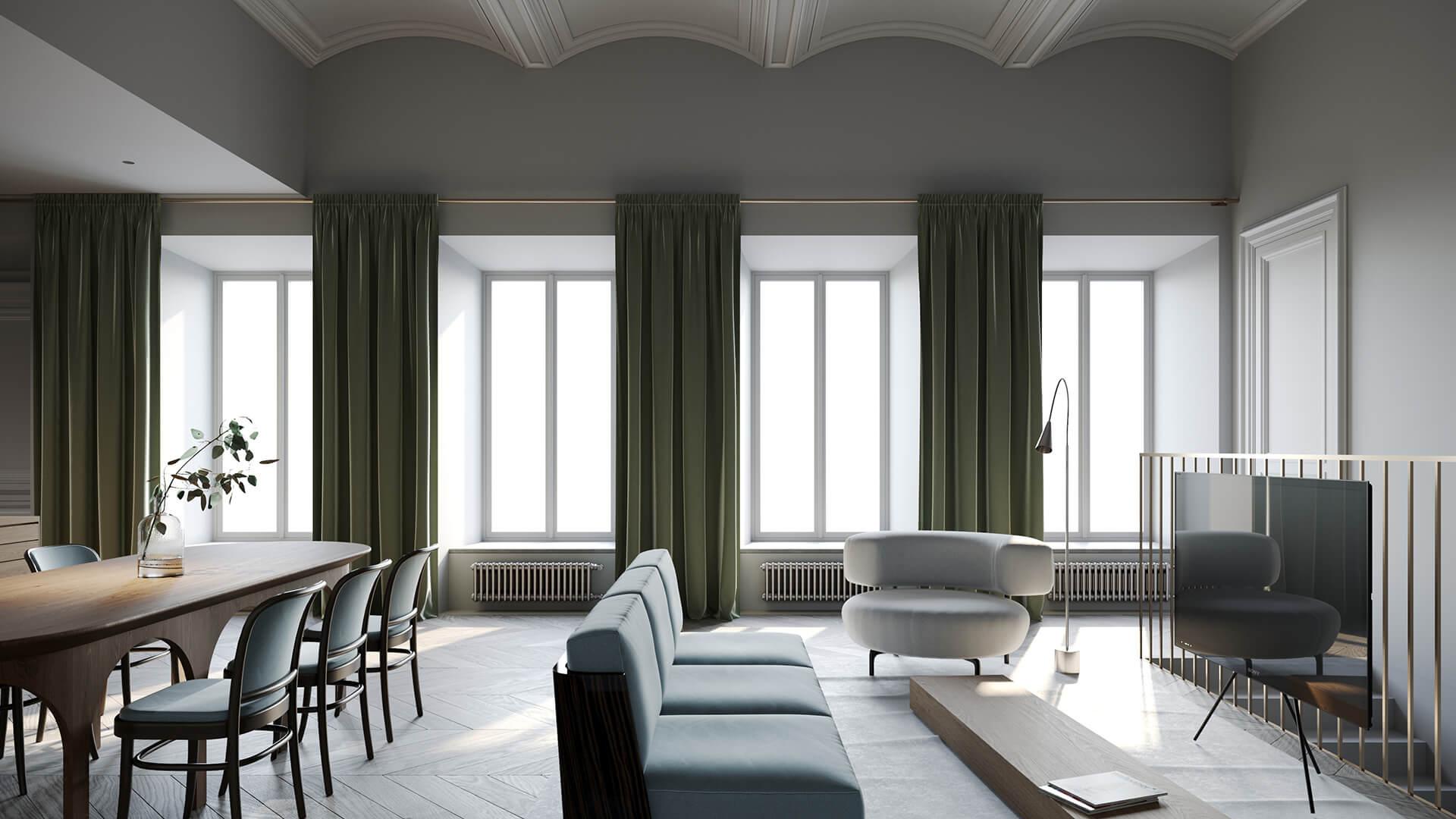 Интерьер гостиной в стиле «Классика Минимализма»