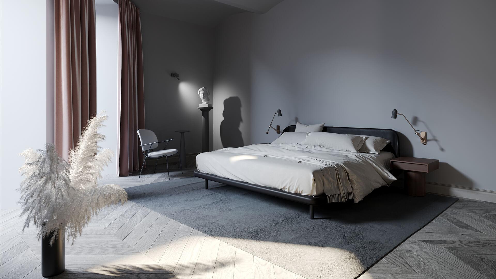 Интерьер спальни в стиле «Классика Минимализм»