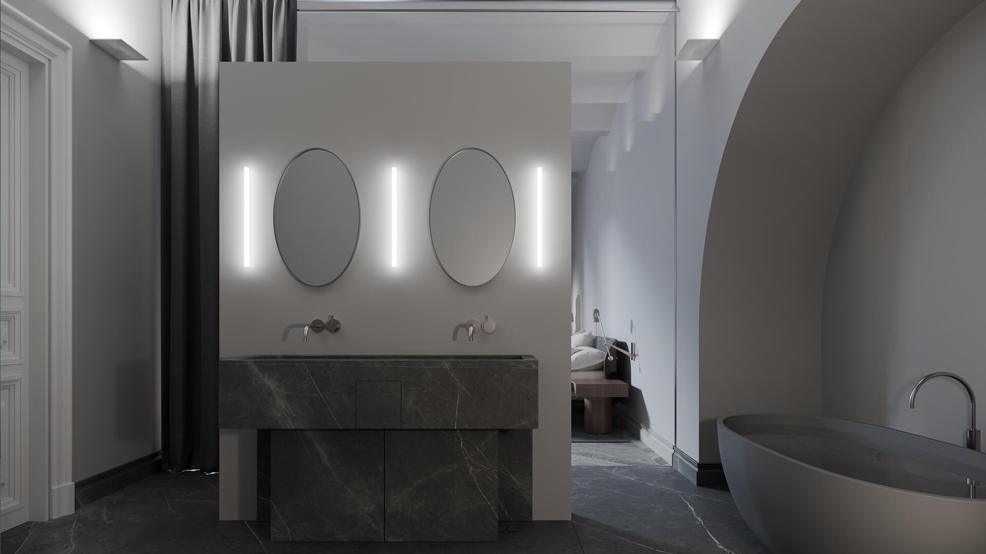 Интерьер ванной в стиле «Классика Минимализм»